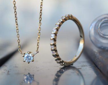ハーフエタニティリング&ダイヤモンドネックレス